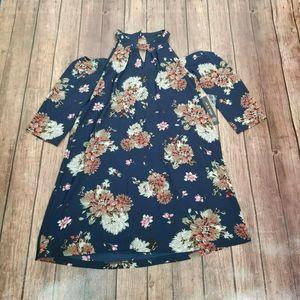 New As U Wish Blue Floral Cold Shoulder Dress S